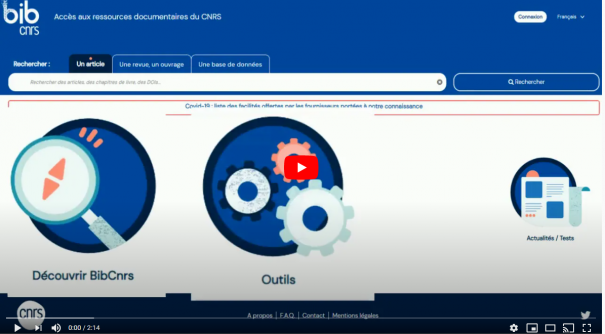 Capture d'écran de la page d'accueil du nouveau bibcnrs